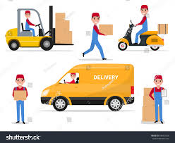 box car clipart vector illustration set cartoon delivery man stock vector