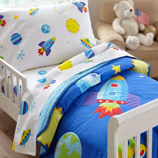outer space rocket planets toddler boy bedding blue 4pc bed in a