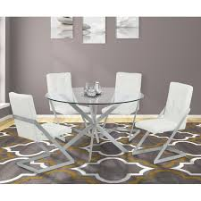 Clear Dining Room Table Living Mystere Round Dining Table In Brushed Stainless Steel With