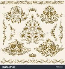 set vector damask ornaments floral elements stock vector 108549725