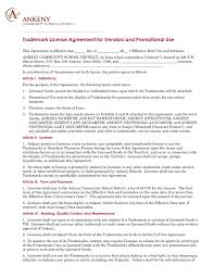 trademark license agreement for vendors and promotional use