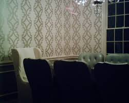 silver trellis wallpaper in young family u0027s dining room