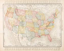 Untied States Of America Map by Antique Vintage Color Map United States Of America Usa Stock
