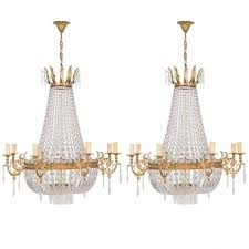 19th century french empire bronze and crystal basket chandelier at