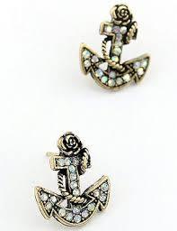 anchor earrings gold anchor stud earrings on storenvy