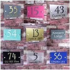 glass door number signs modern house sign plaque door number street frosted glass effect