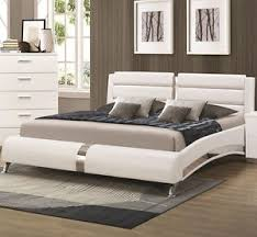 White King Platform Bed New Killian Modern White Or Black Leatherette Chrome Or King