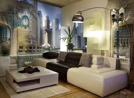 modern family room designs with an amazing cityscape mural and a modern family room designs with an amazing cityscape mural and a black and white sofa with an industrial lighting fixture