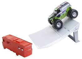 monster truck crash video amazon com wheels monster jam mega crash ramp playset toys