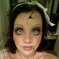 Halloween Costumes Broken Doll Porcelain Doll Makeup Contacts Sem Porcelain