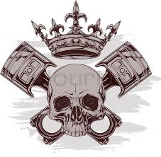 graphic color human skull with royal crown and crossed car