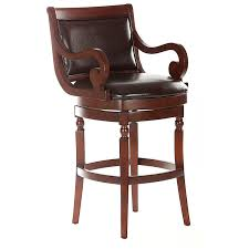 Leather Bar Stools With Back Furniture Brown Wooden Swivel Counter Height Stool With Curved