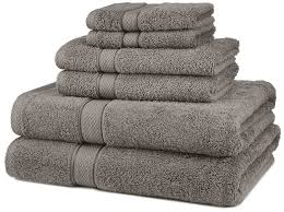 Home Design Brand Towels Amazon Com Pinzon Blended Egyptian Cotton 6 Piece Towel Set Grey