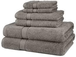amazon com pinzon blended egyptian cotton 6 piece towel set grey