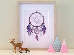 purple dreamcatcher watercolor or native american indian