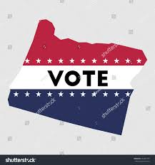 Oregon Map Outline by Vote Oregon State Map Outline Patriotic Stock Vector 434337775