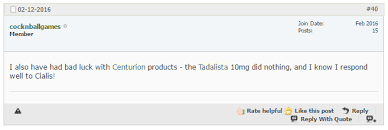 tadalista centurion laboratories questionable product with