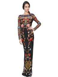 temperley london temperley london flowers embroidered on tulle dress in black lyst