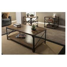 target coffee table set greyson vintage industrial coffee cocktail table and end tables 3
