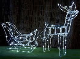 3d white solar led deer sleigh outdoor