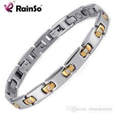 energy bracelet titanium images Rainso silver gold bracelet titanium therapy health bracelet with jpg