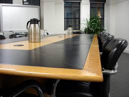u shape cream wooden meeting room table with white polished iron