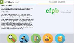 consumer bureau protection agency consumer financial protection thomson reuters