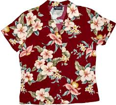 beautiful flowers womens burgundy hawaiian shirt