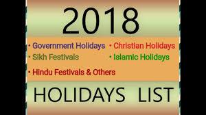 2018 Calendar Islamic 2018 Government Hindu Sikh Islamic Christian Holidays List