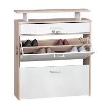 schuhschrank design shop finebuy schuhkipper mit schublade sonoma eiche weiß 80 x 94 x 23