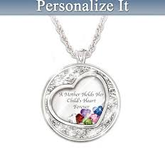 Mom Necklaces With Children S Names A Mother Holds Her Child U0027s Heart Floating Birthstone Necklace With