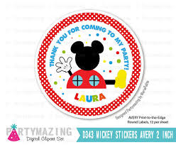 mickey printable thank you labels mickey clubhouse cupcake