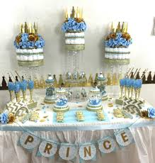 Blue And Gold Baby Shower Decorations by Baby Blue And Gold Baby Shower Candy Buffet Diaper Cake