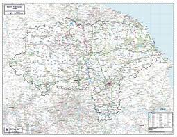 England County Map by North Yorkshire County Wall Map Paper Laminated Or Mounted On