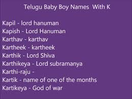 Names Of Purple by Telugu Baby Boy Names With K Youtube