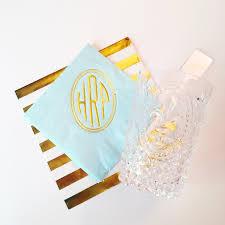 circle monogrammed cocktail napkin monogrammed napkins foil
