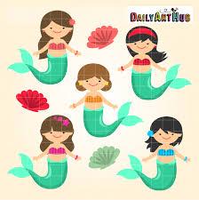 mermaid kids clip art set daily art hub