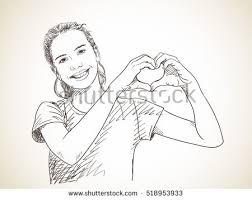 sketch teenage showing hands heart stock vector 518953933