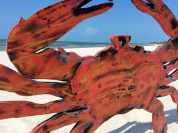 large wooden red crab decor rustic wood crab wall art new home