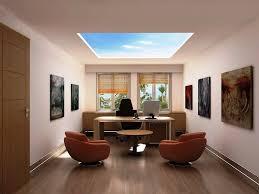 modern minimalist home office interior design with wooden desk