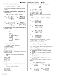 worksheet chemical equilibrium u0026 keq