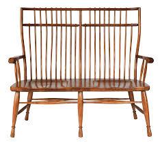 high back solid oak bench