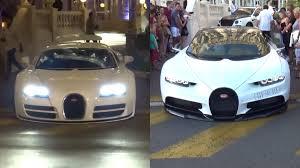 convertible bugatti watch a bugatti chiron and veyron scrape their chins on the same