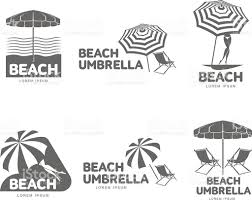 Lounge Chair Umbrella Logo Templates With Beach Umbrella And Sun Bathing Lounge Chairs