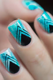 nail art teal sponging black stamping 05 nails pinterest