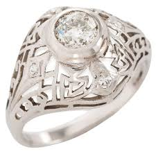 art deco diamond gold dome shape filigree ring for sale at 1stdibs