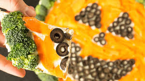 Halloween Appetizers With Pictures Halloween Pumpkin Vegetable Pizza Recipe Cooking With Janica