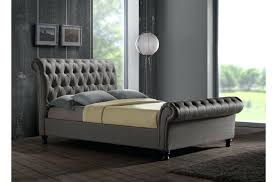 Grey Sleigh Bed Sleigh Bed King Size Luxury Upholstered Buttoned Grey Sleigh Bed
