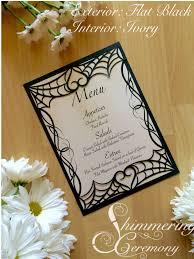 Wedding Halloween Spider Web Laser Cut Menu Card Pocket Gothic Heart Halloween