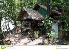 bungalow traditional thai wooden house thailand stock photos